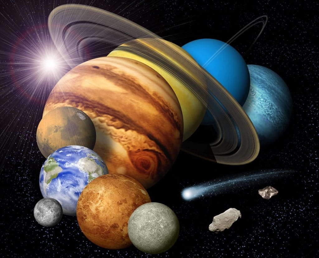 Collage of the planets and other objects in our solar system