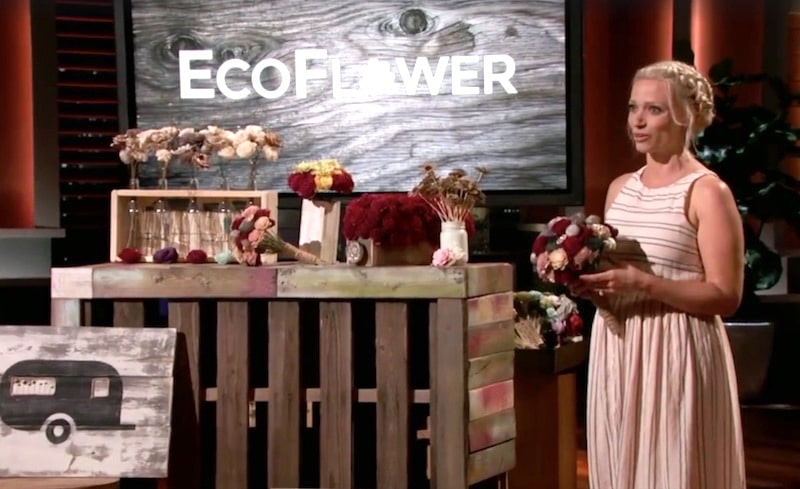 Meagan Bowman of Eco Flower pitching to the Shark Tank panel