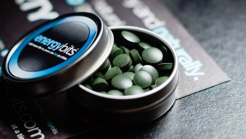 The 100% algae ENERGYbits, and the travel tin that comes with them