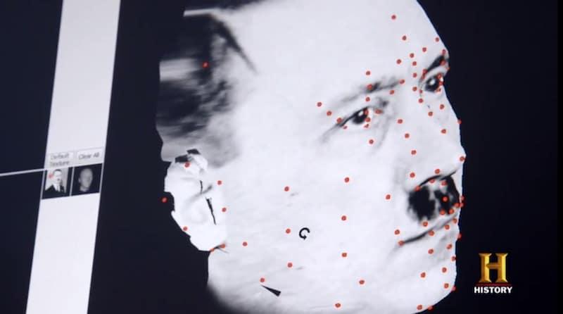 A program maps Hitler's face in a still from Hunting Hitler Season 2 on History