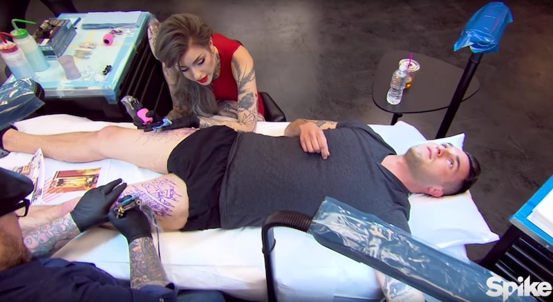 Team Peck turn their canvas into a cyborg during this week's tough Ink Master challenge