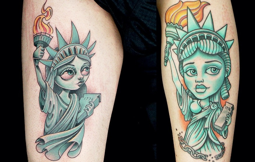 Gian, left, and Nate's newschool landmarks tattoos from the penultimate Ink Master