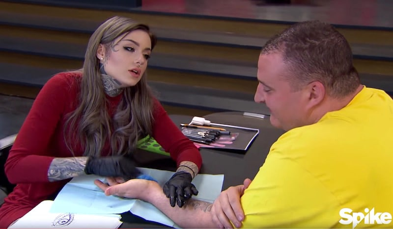 Ryan Ashley breaks the bad news about the pain to her canvas on this week's Ink Master