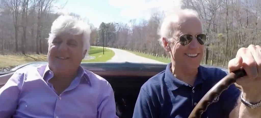 Vice President Joe Biden and Jay Leno in 1967 Corvette Stingray
