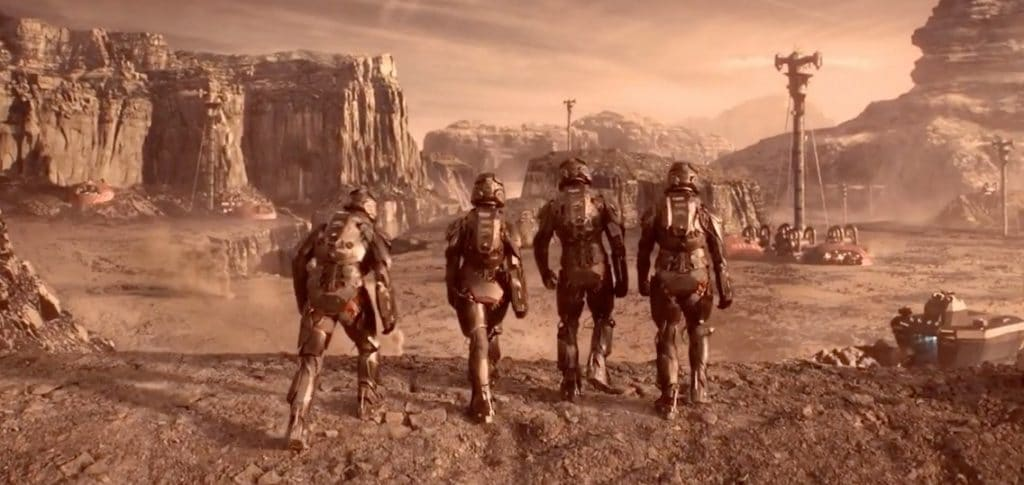 Mars has been colonised, 4 people in spacesuits walk on the surface of mars