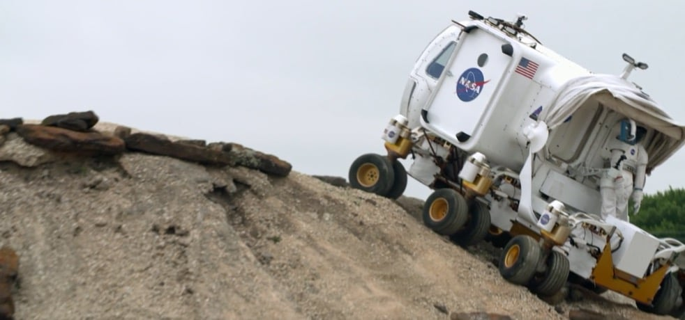 The Space Exploration Vehicle on a steep bank