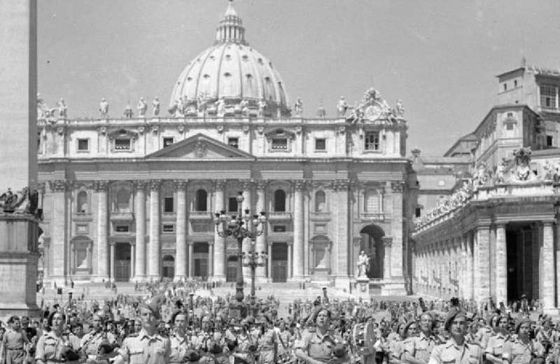 British Army band playing St Peter's Basilica, June 1944