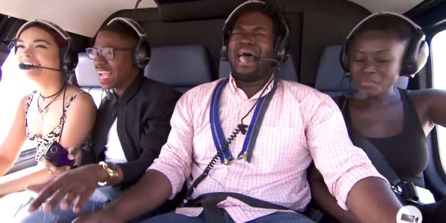 Project Runway designers take helicopter trip for 'high fashion' inspiration