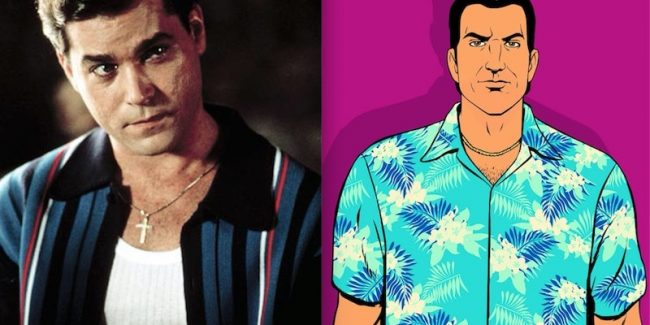 Ray Liotta in Goodfellas and Tommy Vercetti, the character he voiced in Grand Theft Auto: Vice City