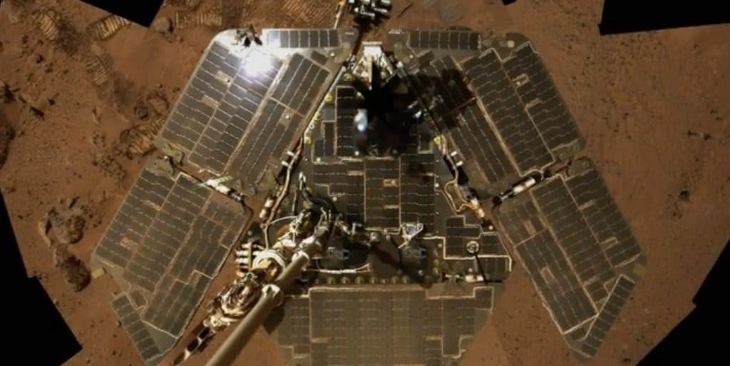 Spirit with dust blown off its solar array