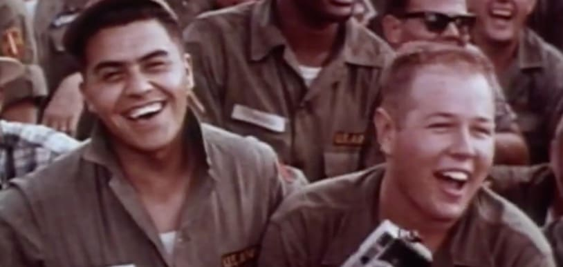 USO - For the Troops - soldiers laughing during a show