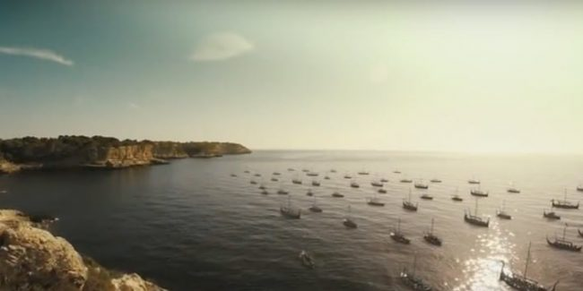 Viking ships sail to war