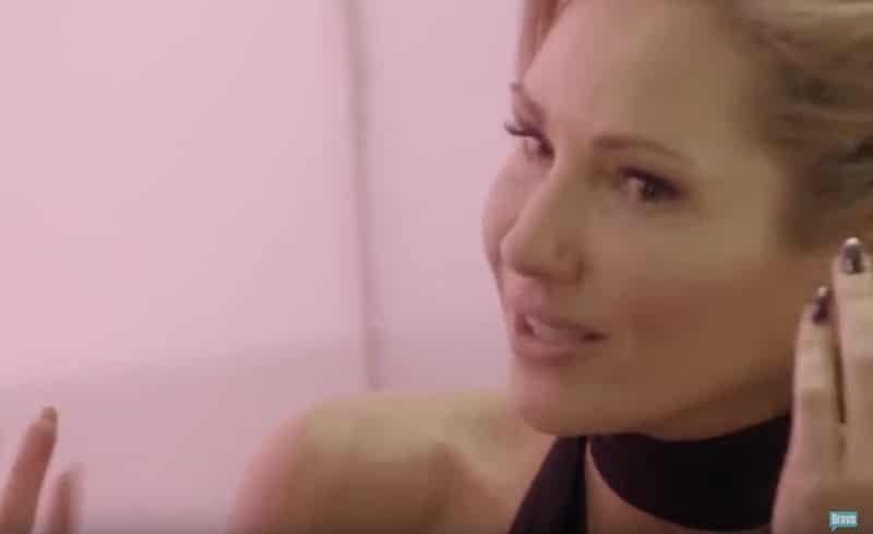 Adela in tears as she talks to Caroline on this week's Ladies of London