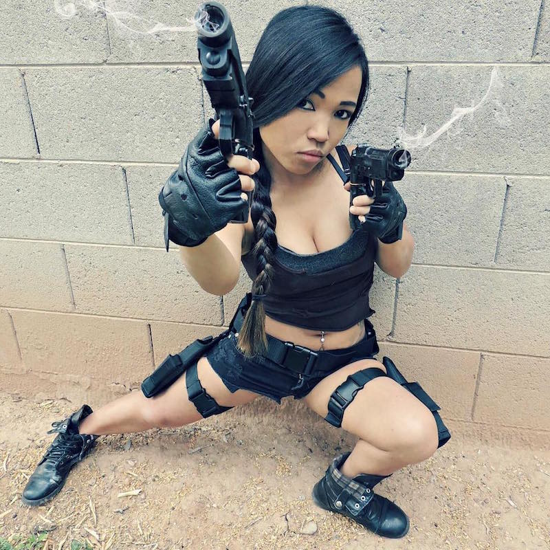 Asta as the iconic Lara Croft from Tomb Raider