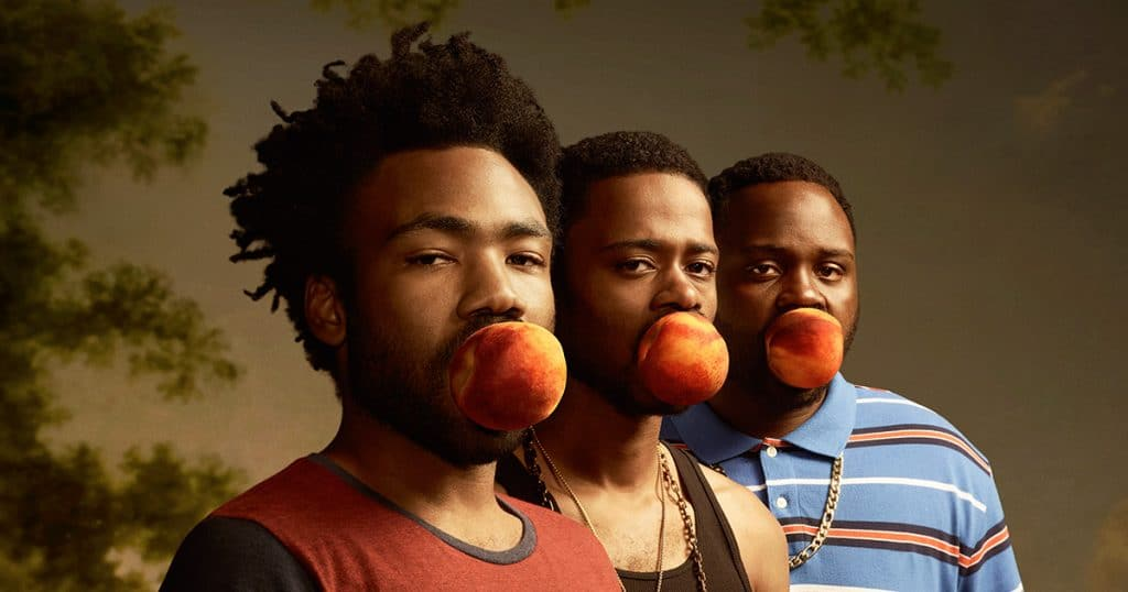 Donald Glover, Keith Stanfield and Brian Tyree Henry in Atlanta promo art