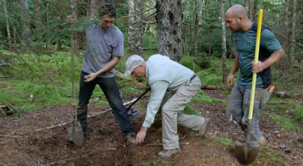 The team dig for treasure in the woods of Oak Island
