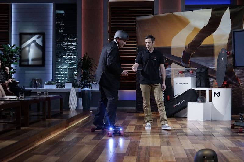 Tycoon Kevin O'Leary tries out the M1 with Inboard's Ryan Evans on Shark Tank