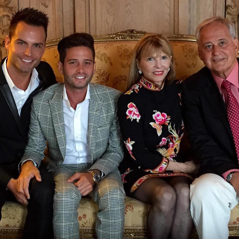 Josh with Bobby, left, and his parents Cindy and Michael after he proposed
