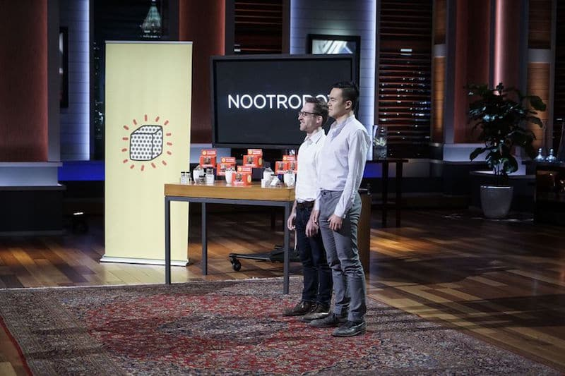 Michael Brandt and Geoffrey Woo from Nootrobox presenting the Go Cubes on Shark Tank