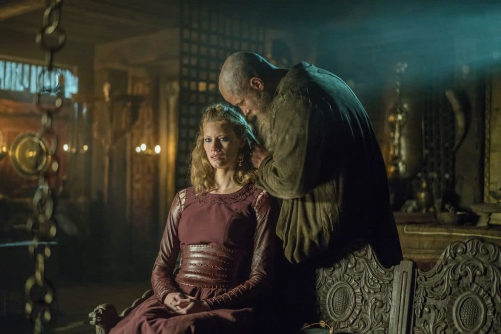 Aslaug and Ragnar in a tense scene on Vikings