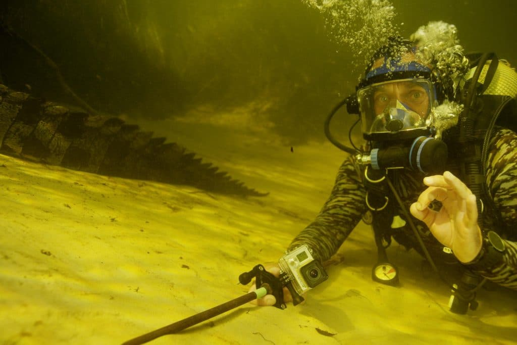 Diving with crocodiles in Africa