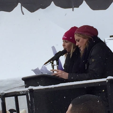 "Writer-activist Chelsea Handler (l.) and actress Mary McCormack welcomed the Women's March on Main Street, a crowd of thousands, many of whom also were attending the 2017 Sundance Film Festival in Park City, Utah. ""Eleanor Roosevelt once said, 'A woman is like a tea bag; you never know how strong it is until it's in hot water.' Welcome to the New Tea,"" Handler told that enthusiastic audience that braved sub-zero weather to protest en masse the inauguration of President Donald Trump yesterday"