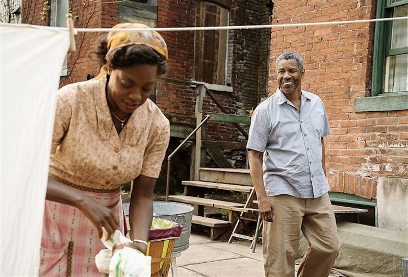 Denzel Washington as Troy Maxson and Viola Davis as his wife Rose in Fences