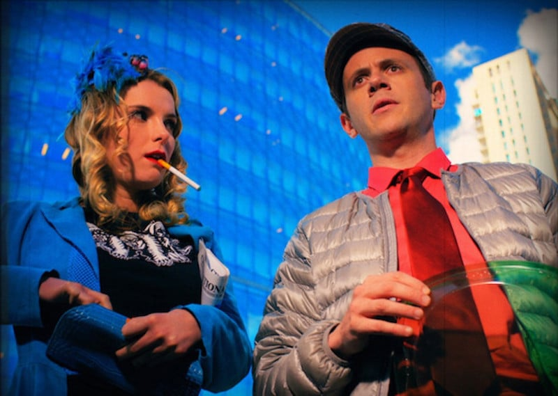 Betty Gilpin and Robert John Burke star in the retro-sci-fi parody Future 38