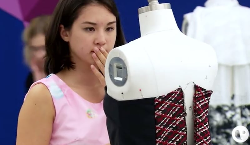 Izzy looks hopelessly at her creation on this week's Project Runway Junior