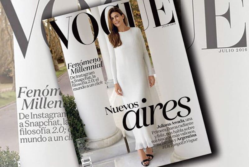 Juliana Awada on the cover of Vogue Latin America