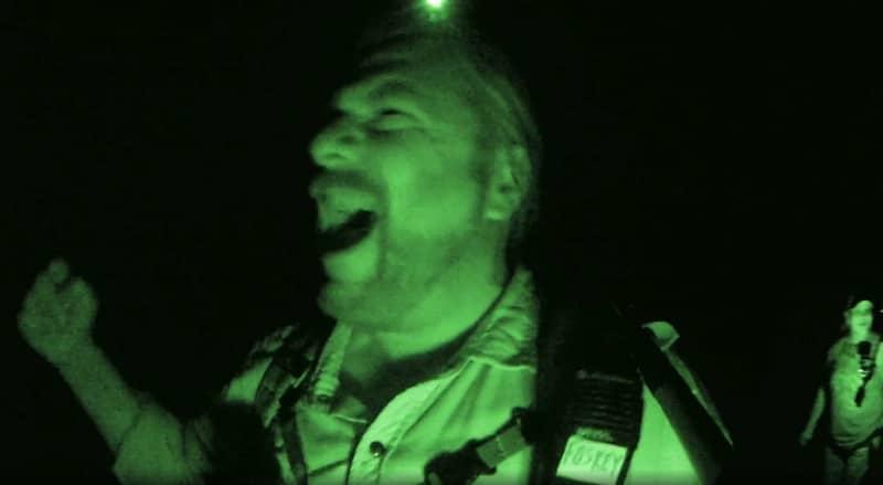 Finding Bigfoot's Matt Moneymaker celebrates after capturing the encounter on camera