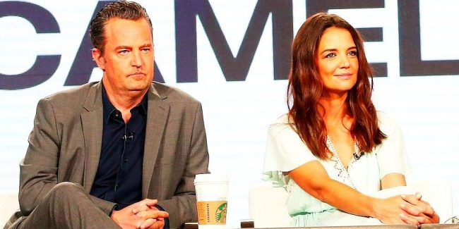 Matthew Perry and Katie Homes promoting The Kennedys: After Camelot at the TCA press tour