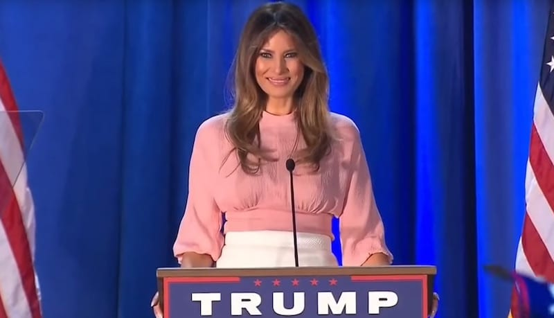 Former model Melania Trump giving a speech in support of her husband at a rally in Pennsylvania