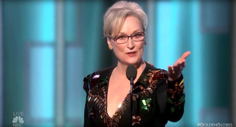 Meryl Streep during her speech laying into Donald Trump at the awards ceremony