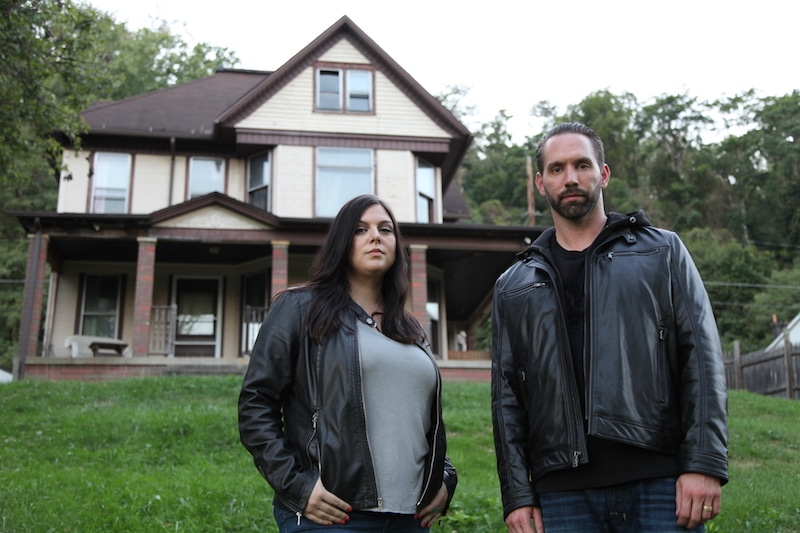 Nick Groff and Katrina Weidman standing outside Bellaire House