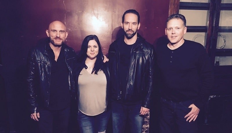 Steve Huff with Paranormal Lockdown's Nick and Katrina, plus GeoBox creator George Brown