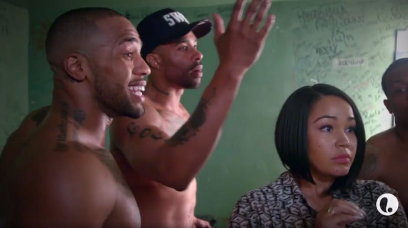 The male strippers fight in heated scenes on Vivica's Black Magic