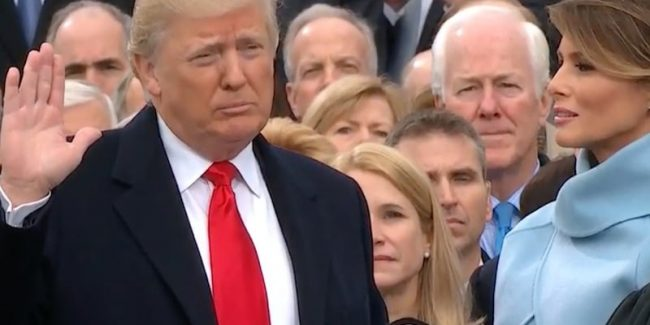 Donald Trump swearing in as President of the United States at his inauguration