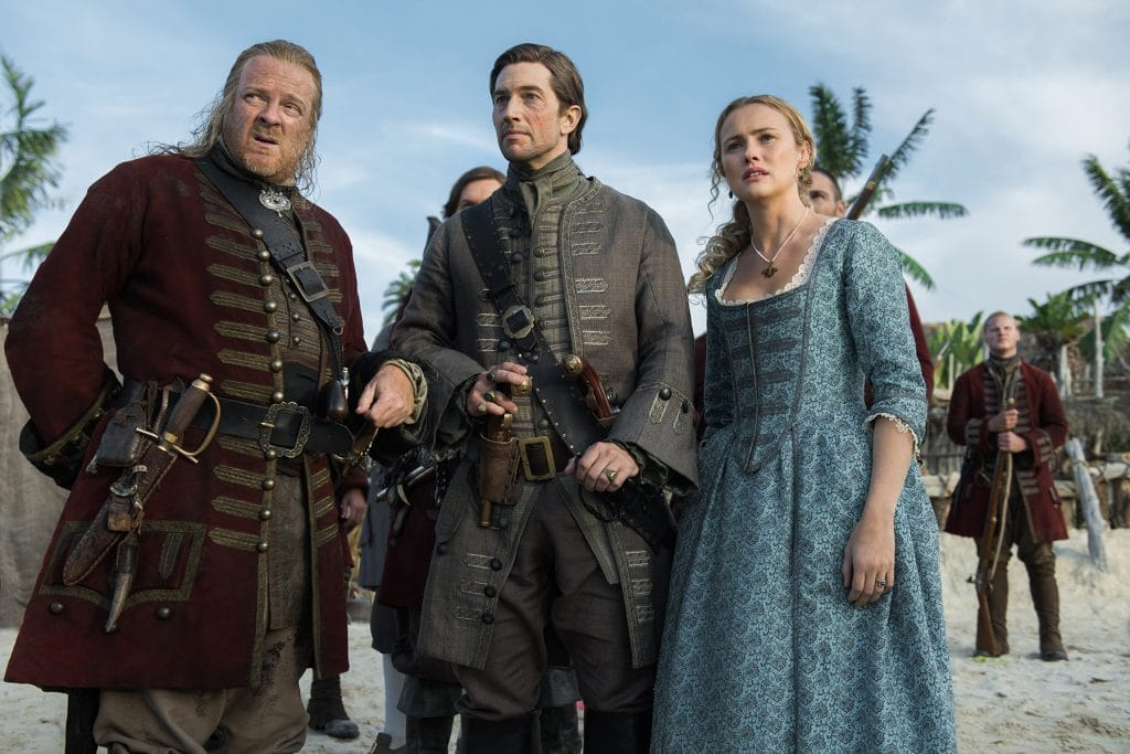 Captain Berringer with Woodes Rogersand Eleanor in Black Sails