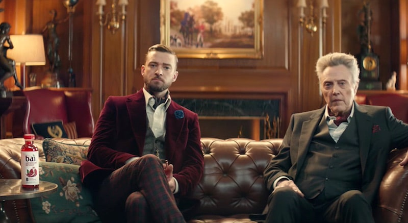 Justin Timberlake and Christopher Walken in the Bai 2017 Super Bowl commercial