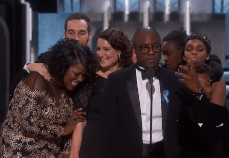 Moonlight director Barry Jenkins makes his speech after his movie's Best Picture win