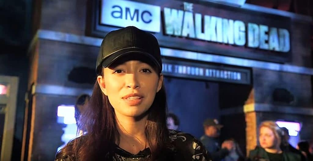 Christian Serratos at The Walking Dead attraction
