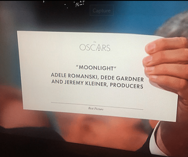 A close-up of the card which reveals the true winner of the night's biggest prize