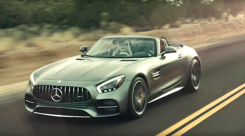 The Mercedes-AMG GT Roadster which Peter Fonda drives in the Super Bowl commercial