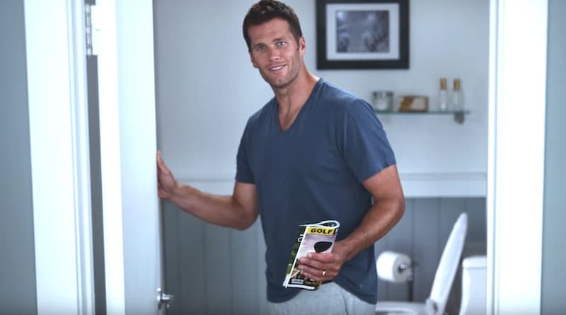 Tom Brady heading to the toilet at the end of the Intel 2017 Super Bowl commercial