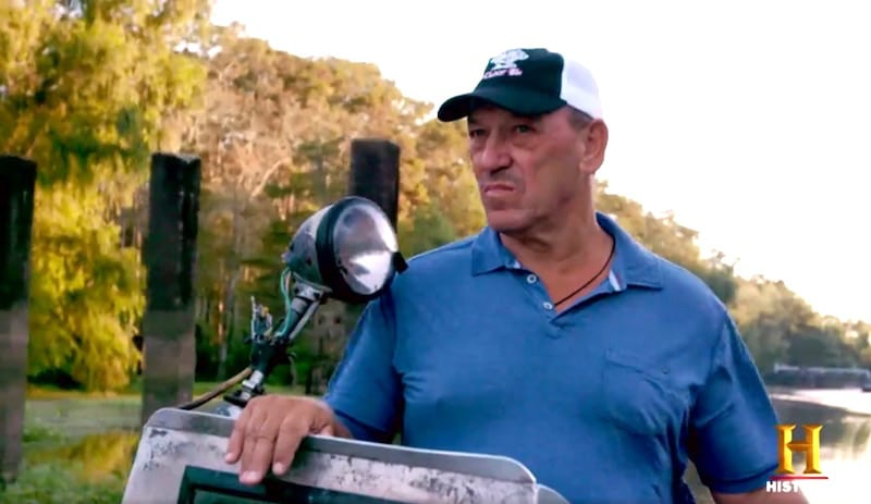 Troy Landry doing what he does best — hunting gators in Season 8 of Swamp People on History