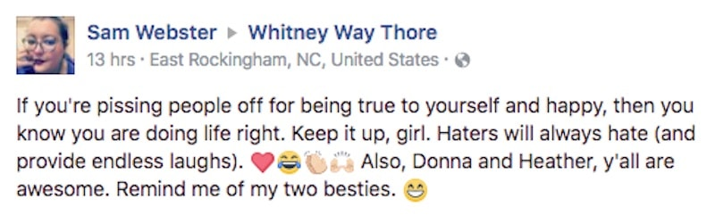 Facebook comment on Whitney Thore's wall