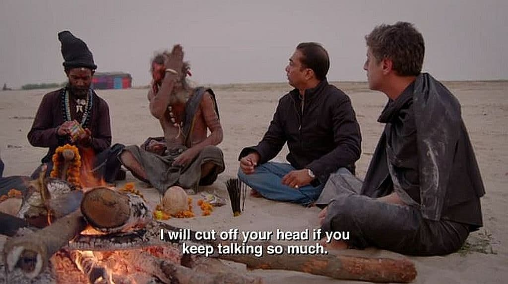 Reza Aslan talking with an Aghori cannibal guru