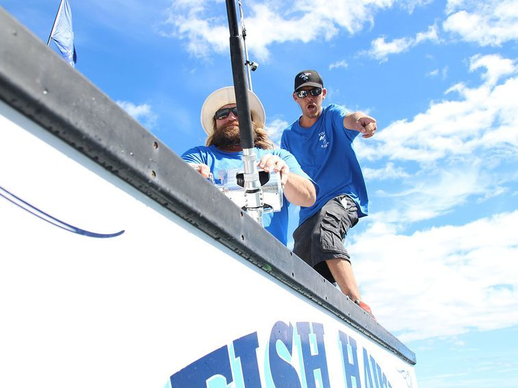 Captain Brad and First Mate Matt Mattson on Fish Hawk