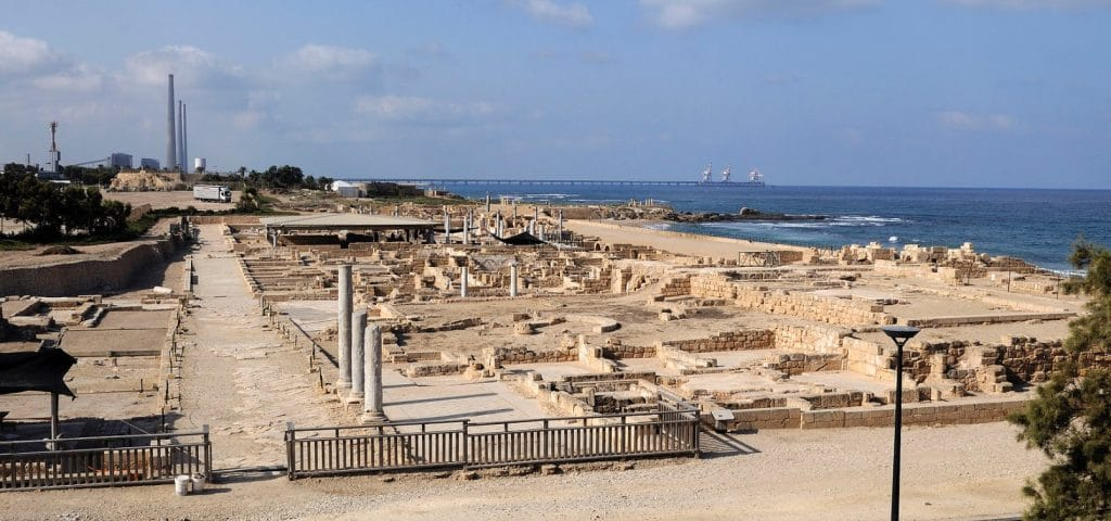 The remains of the Roman city of Caesarea where the stone was found